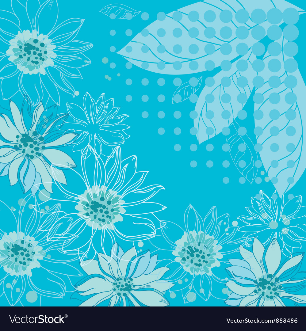 Turquoise flowers background vector | Price: 1 Credit (USD $1)