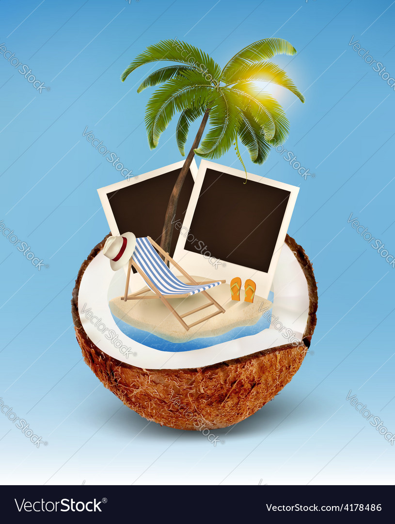 Vacation concept palm tree photos and beach chair vector | Price: 3 Credit (USD $3)