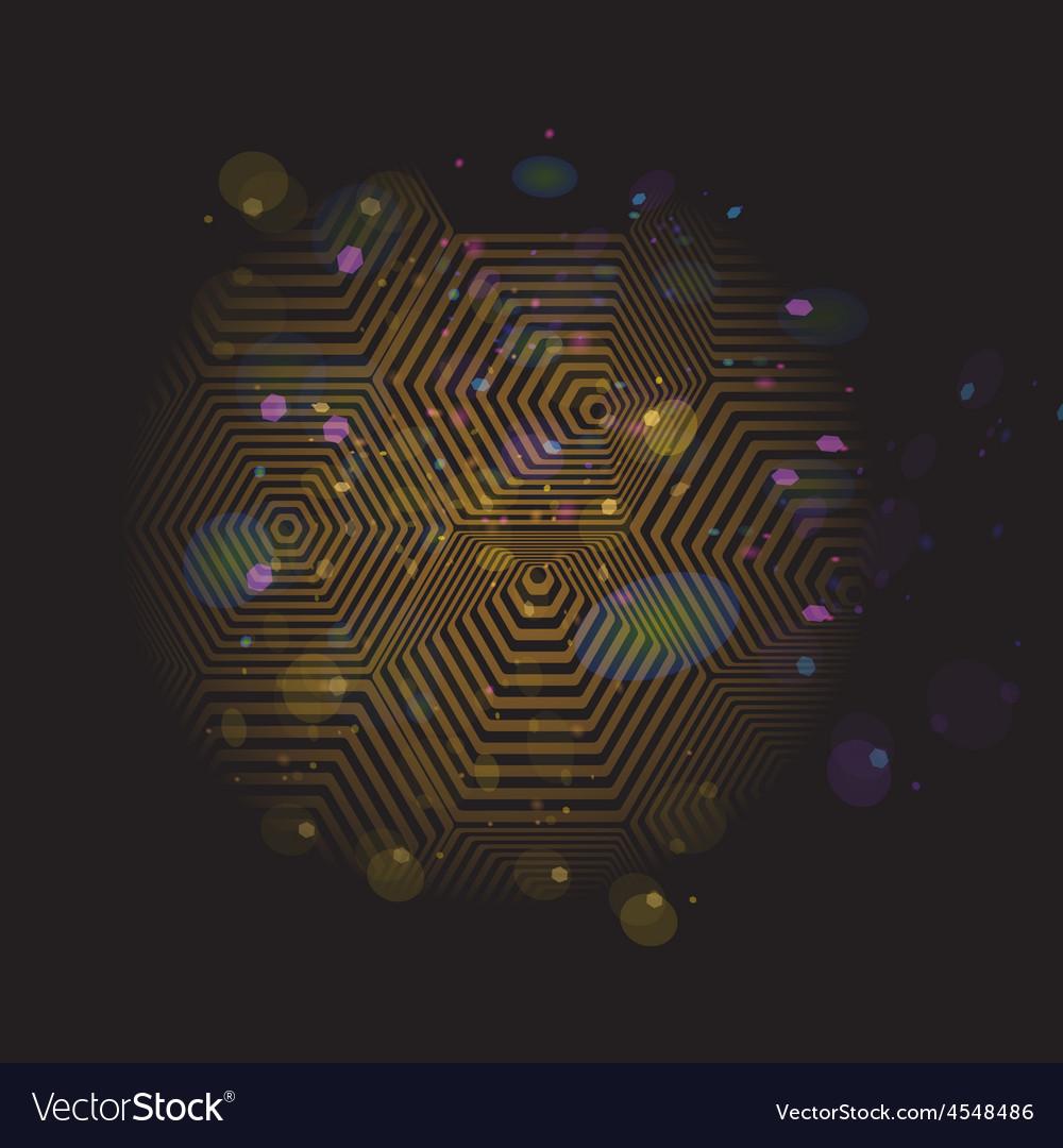 Volumetric 3d pyramid hexagon optical black and vector
