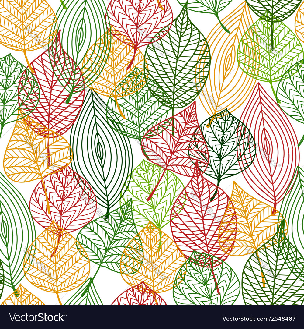 Autumnal leaves seamless pattern vector | Price: 1 Credit (USD $1)