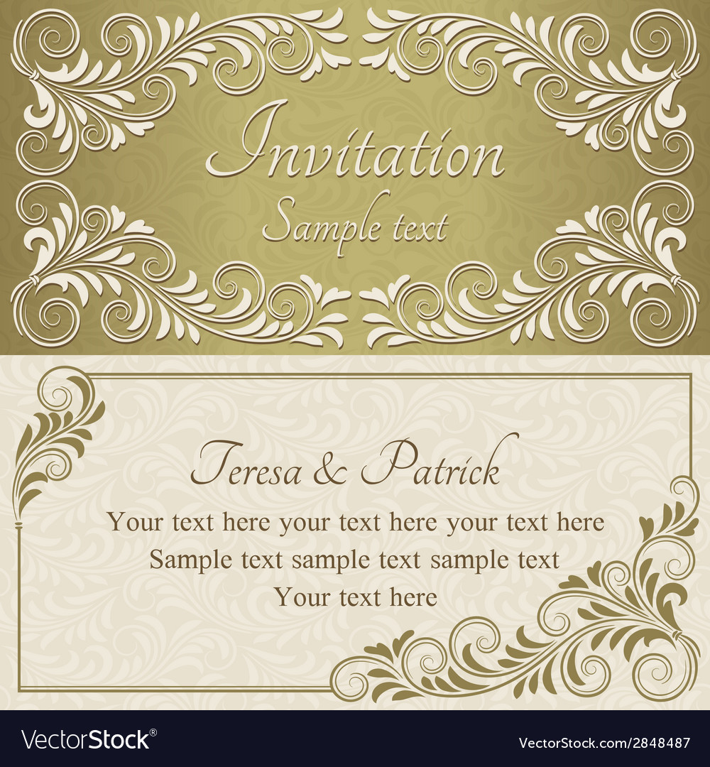 Baroque invitation gold and beige vector | Price: 1 Credit (USD $1)