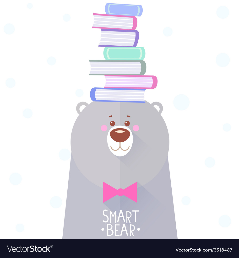 Bear and books vector | Price: 1 Credit (USD $1)