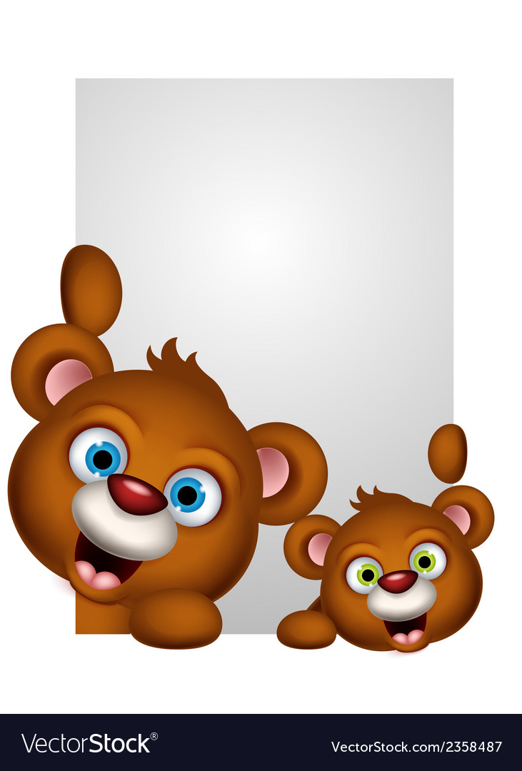 Cute couple brown bear cartoon vector | Price: 1 Credit (USD $1)