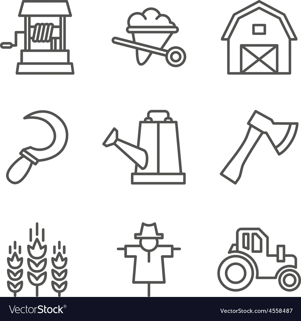 Farm gardening nature flat line style icons vector
