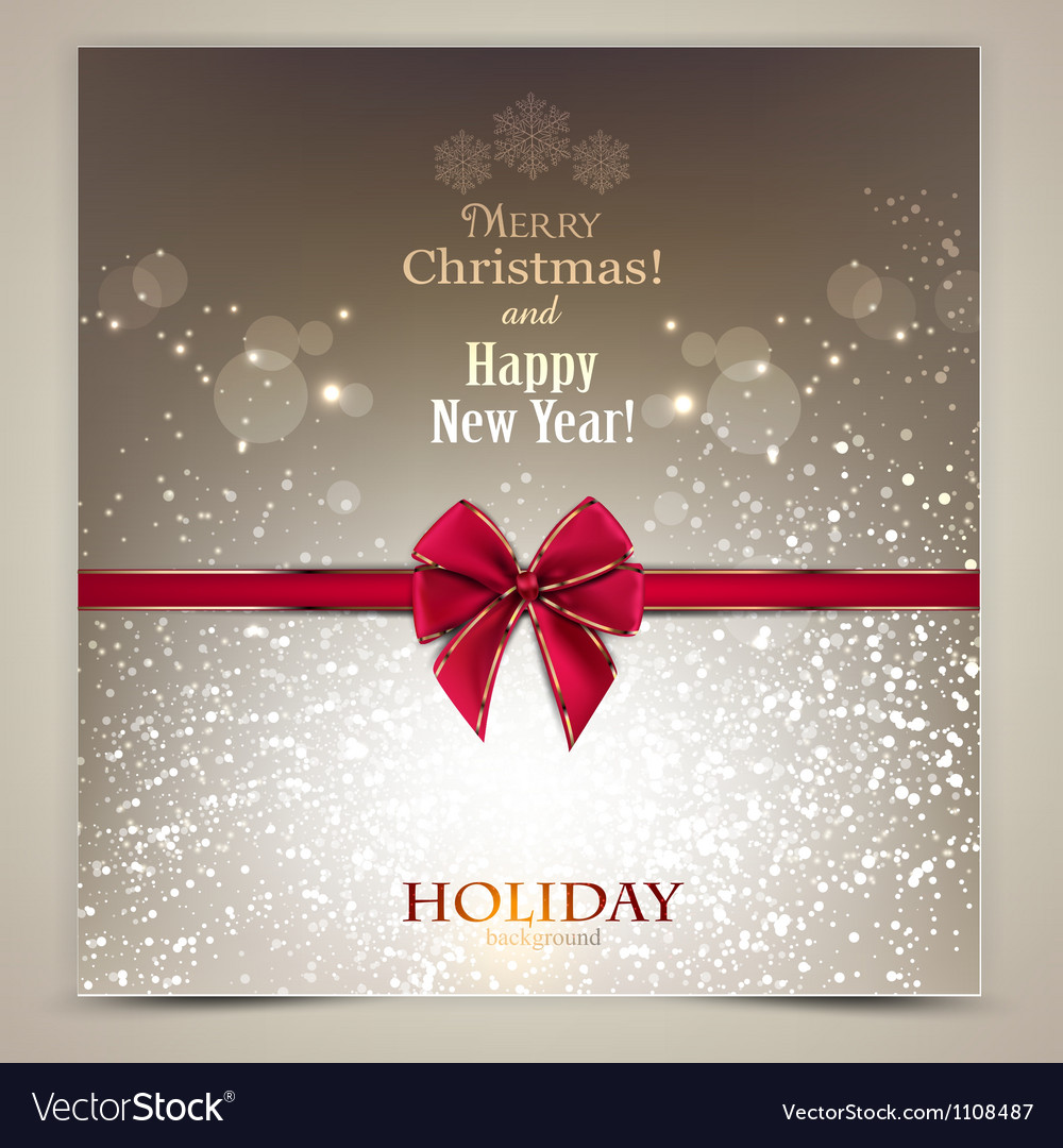Greeting card with red bow and copy space vector | Price: 1 Credit (USD $1)