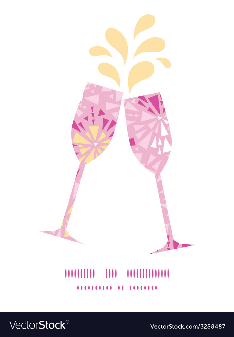 Pink abstract triangles toasting wine glasses vector | Price: 1 Credit (USD $1)