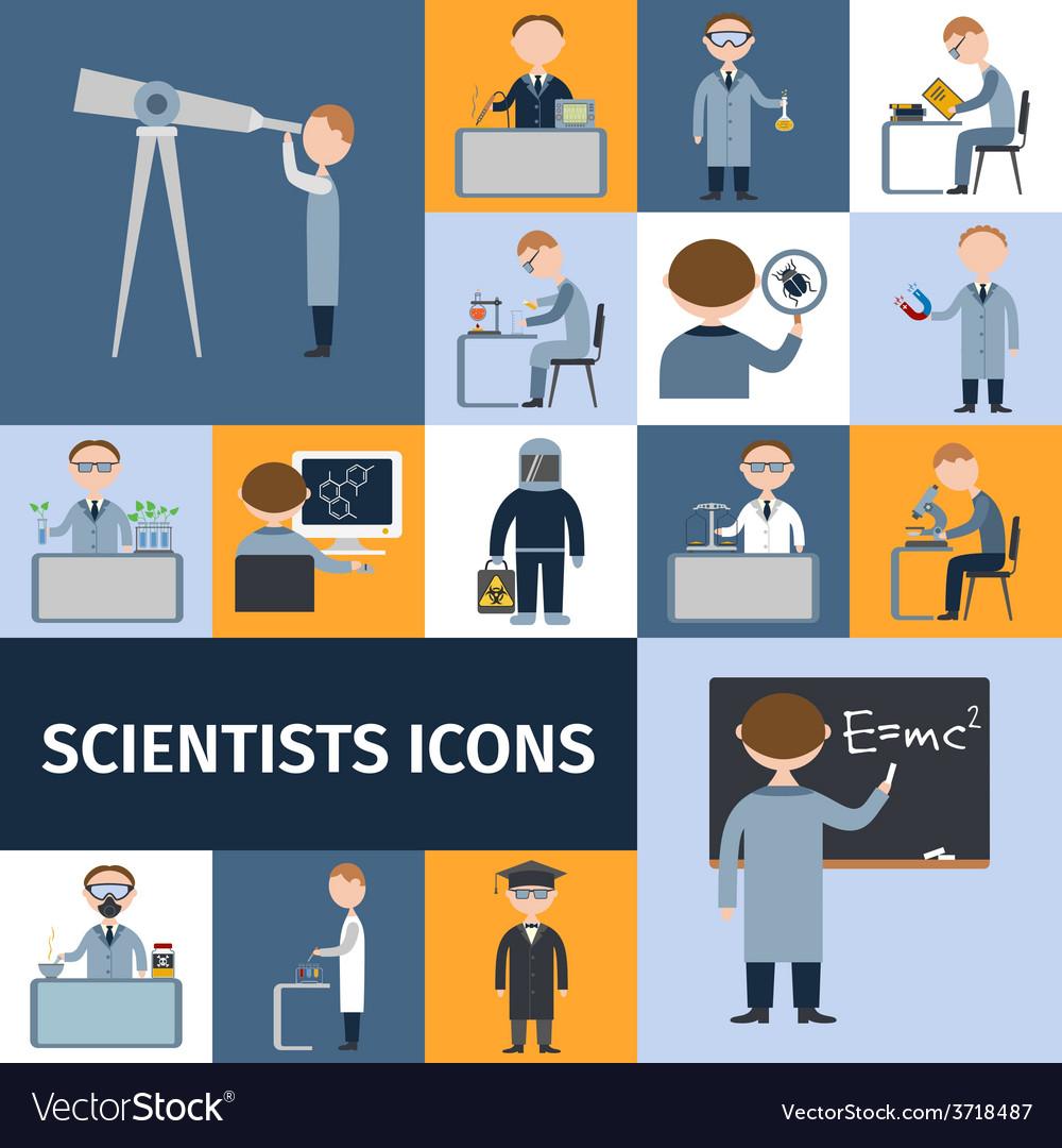 Scientists icon set vector | Price: 1 Credit (USD $1)