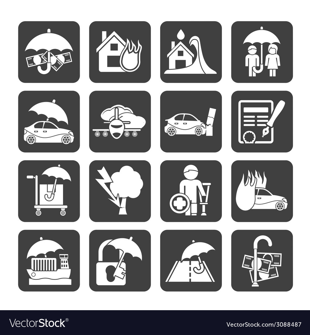 Silhouette insurance and risk icons vector | Price: 1 Credit (USD $1)