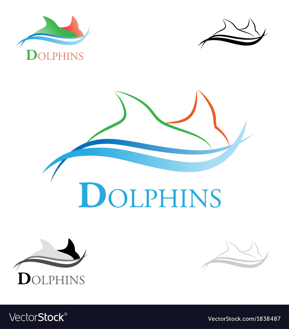 Stylized dolphins vector | Price: 1 Credit (USD $1)