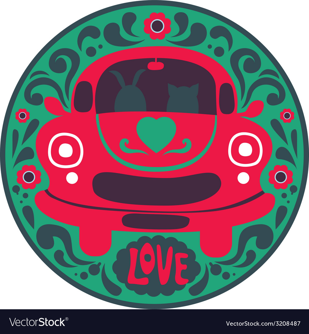 Valentine design with retro car vector | Price: 1 Credit (USD $1)