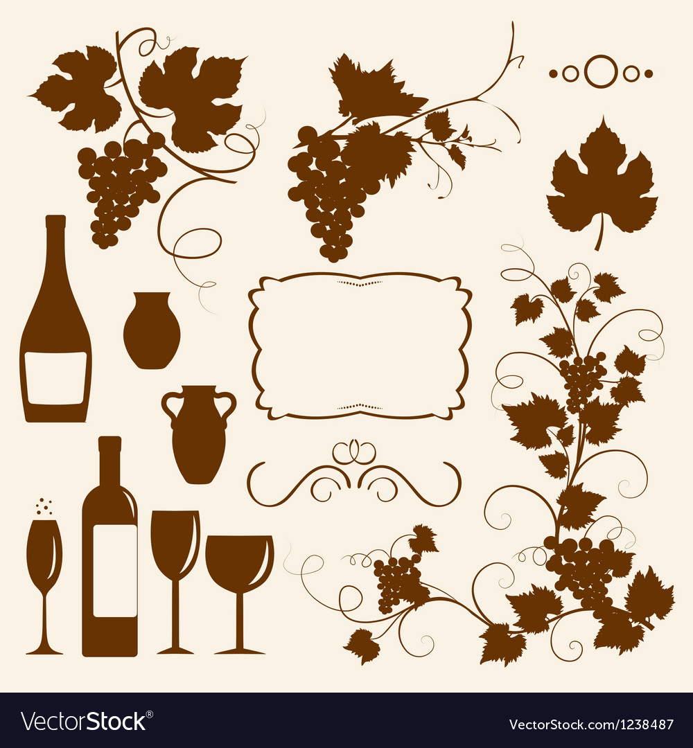 Winery design objects silhouettes vector | Price: 1 Credit (USD $1)