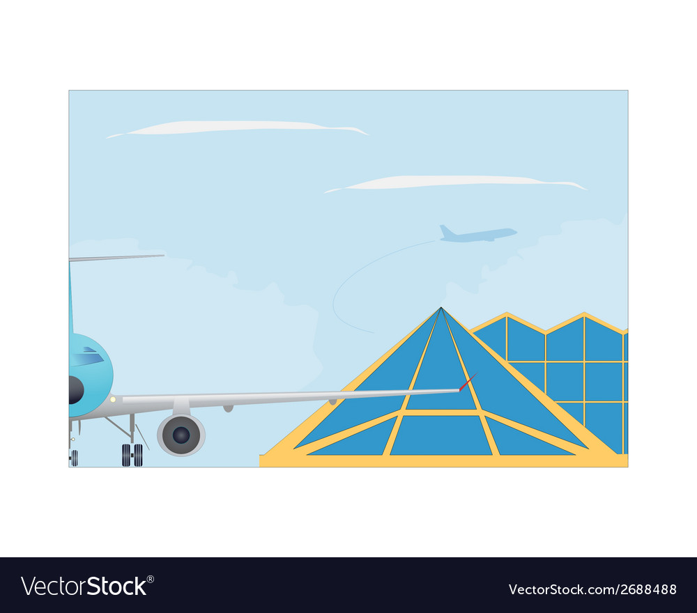 Airport plane and terminal building vector | Price: 1 Credit (USD $1)
