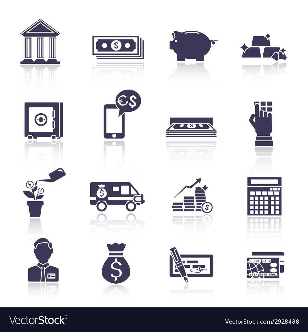 Bank service icons black set vector | Price: 1 Credit (USD $1)
