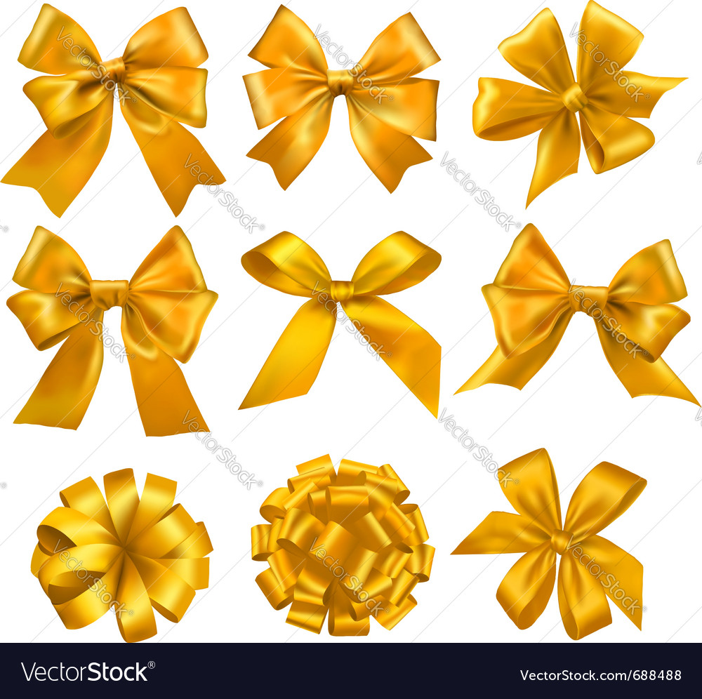 Big set of gold gift bows with ribbons vector | Price: 1 Credit (USD $1)