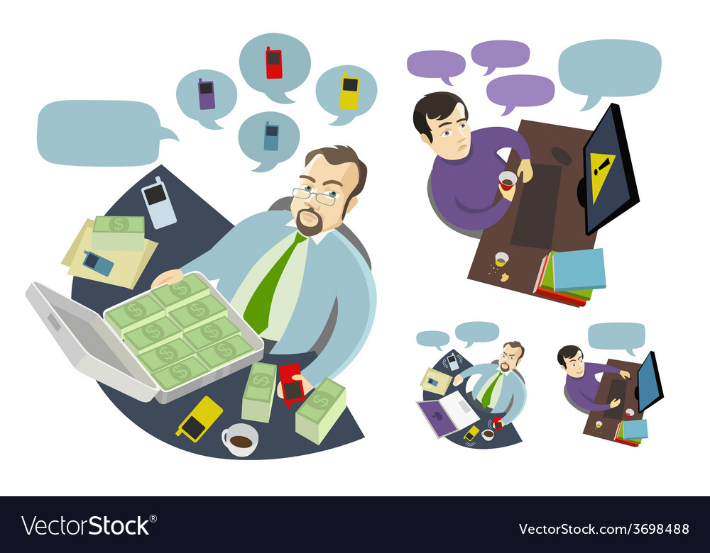 Boss and employee working at the table desk vector | Price: 1 Credit (USD $1)