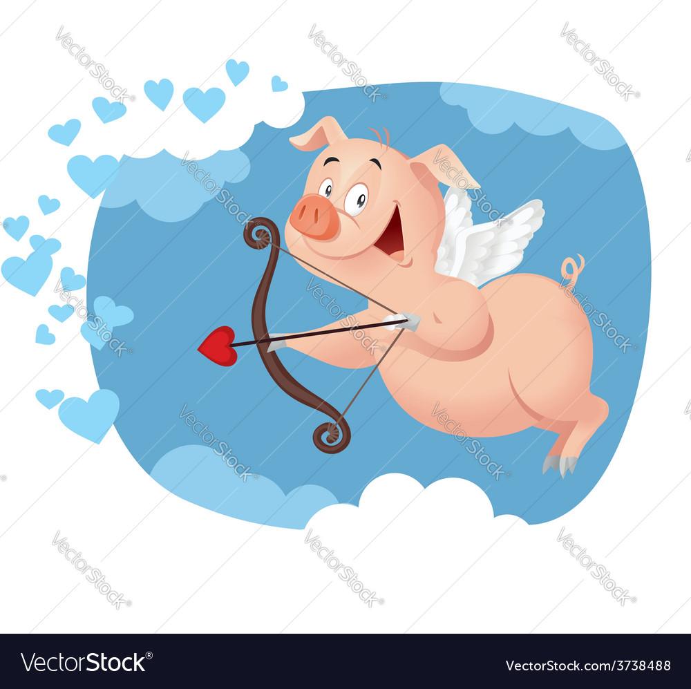Cupid pig funny cartoon vector | Price: 1 Credit (USD $1)