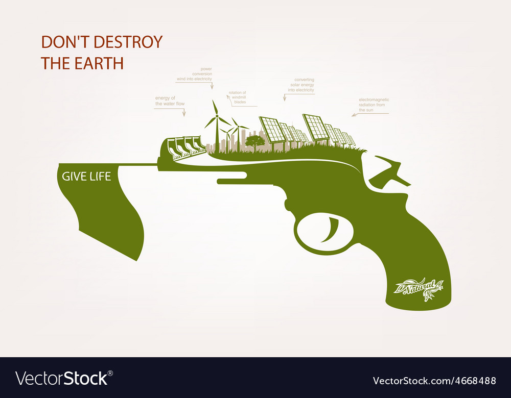 Gun with wind-powered electricity solar panels vector | Price: 1 Credit (USD $1)
