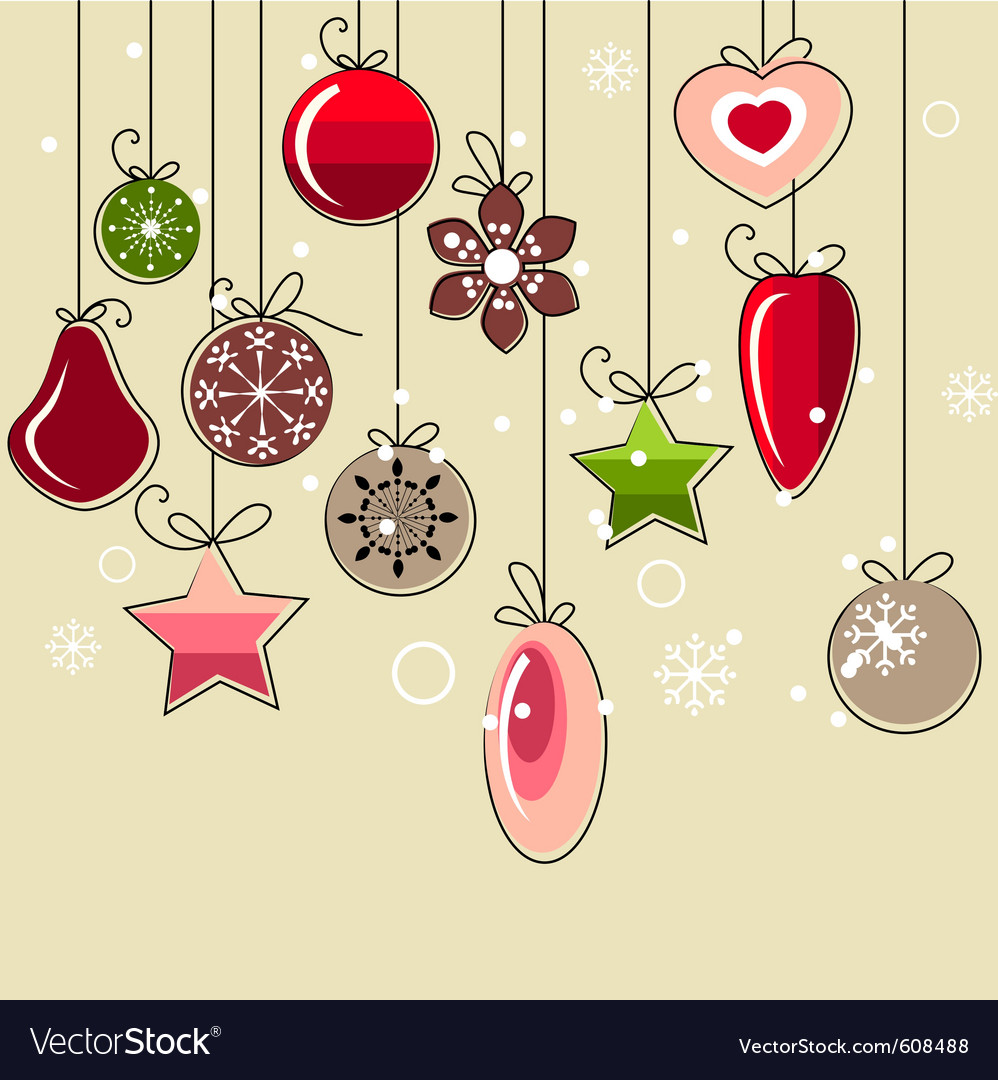 Hanging christmas decorations vector | Price: 1 Credit (USD $1)