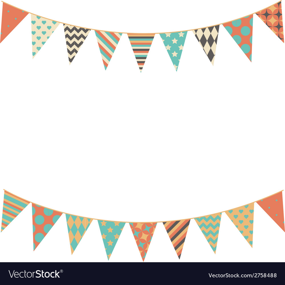 Party bunting background in flat style vector | Price: 1 Credit (USD $1)