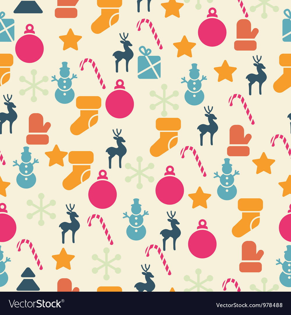 Retro christmas seamless pattern vector | Price: 1 Credit (USD $1)