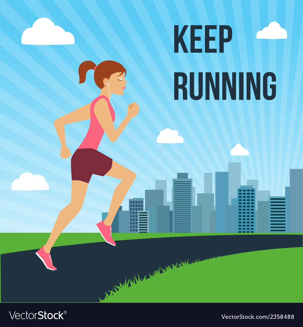 Running woman poster vector | Price: 1 Credit (USD $1)
