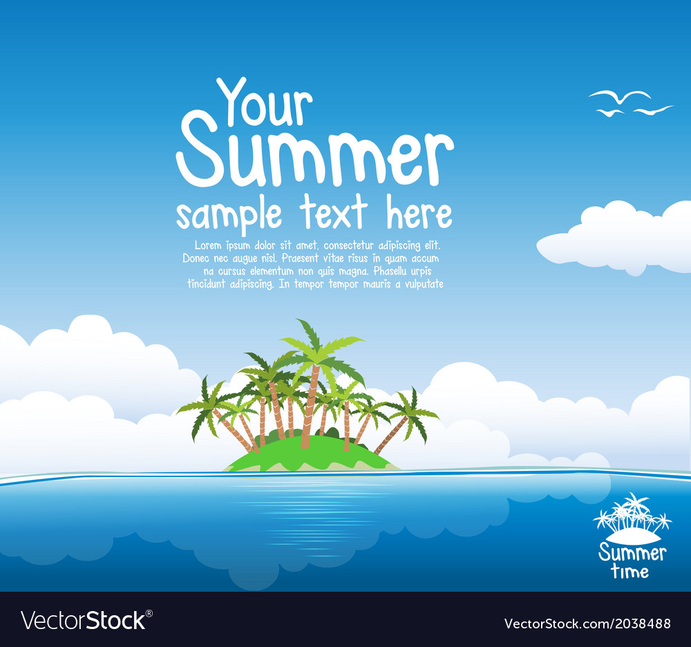 Summer island vector | Price: 1 Credit (USD $1)