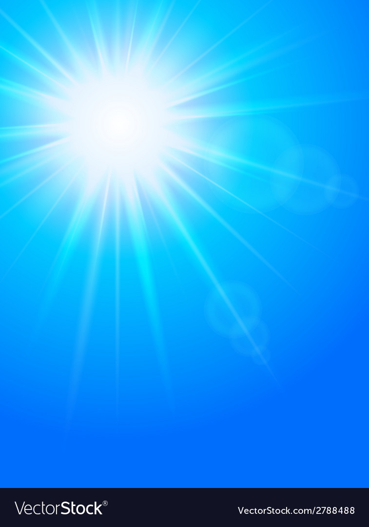 Sun in the sky cold blue background vector | Price: 1 Credit (USD $1)
