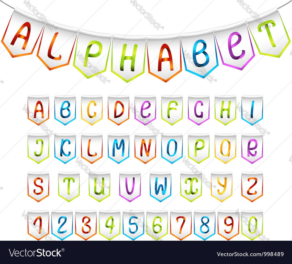 Bunting alphabet and numbers set vector | Price: 1 Credit (USD $1)