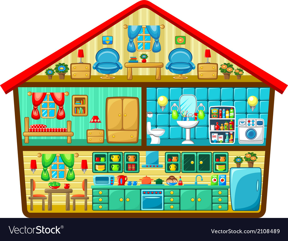 Cartoon house in a cut vector | Price: 3 Credit (USD $3)