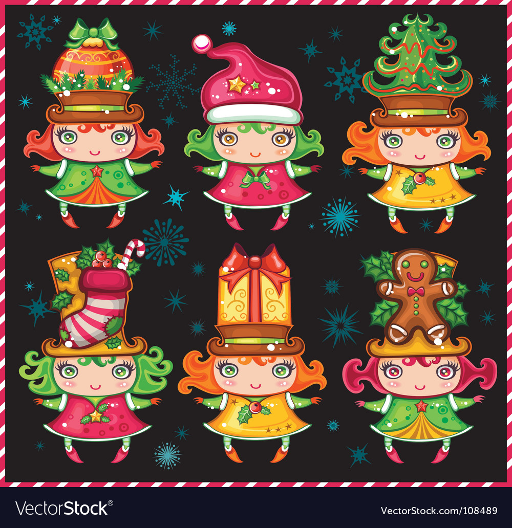Christmas helpers vector | Price: 3 Credit (USD $3)