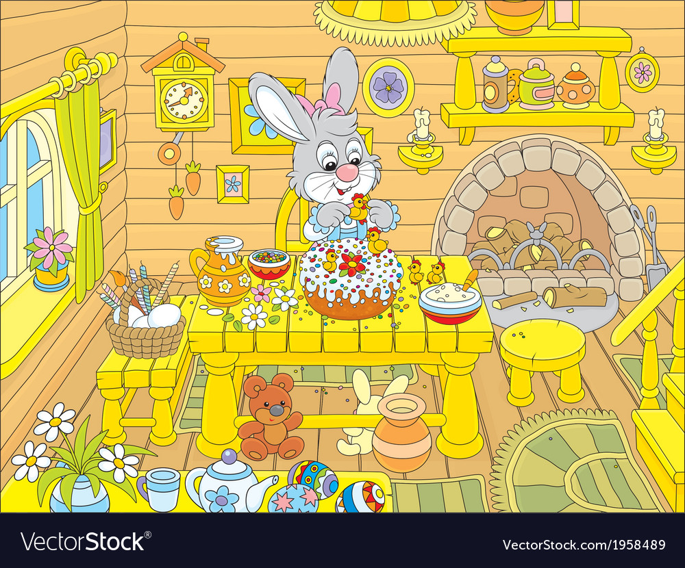 Easter bunny cooks a holiday cake vector | Price: 1 Credit (USD $1)