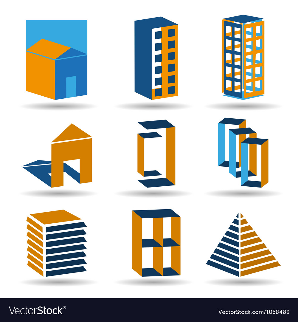Estate icons and logos set vector   Price: 1 Credit (USD $1)