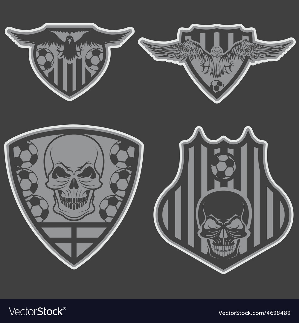 Football team crests set with eagles and skulls vector | Price: 1 Credit (USD $1)