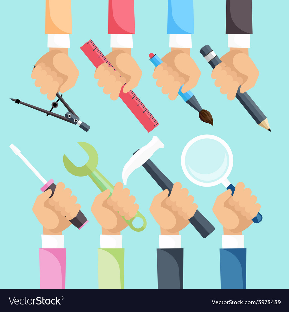 Hands with construction tools vector | Price: 1 Credit (USD $1)