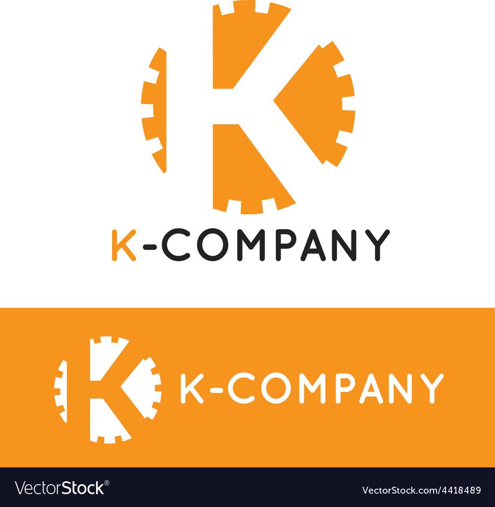Minimalistic orange k letter logotype vector | Price: 1 Credit (USD $1)