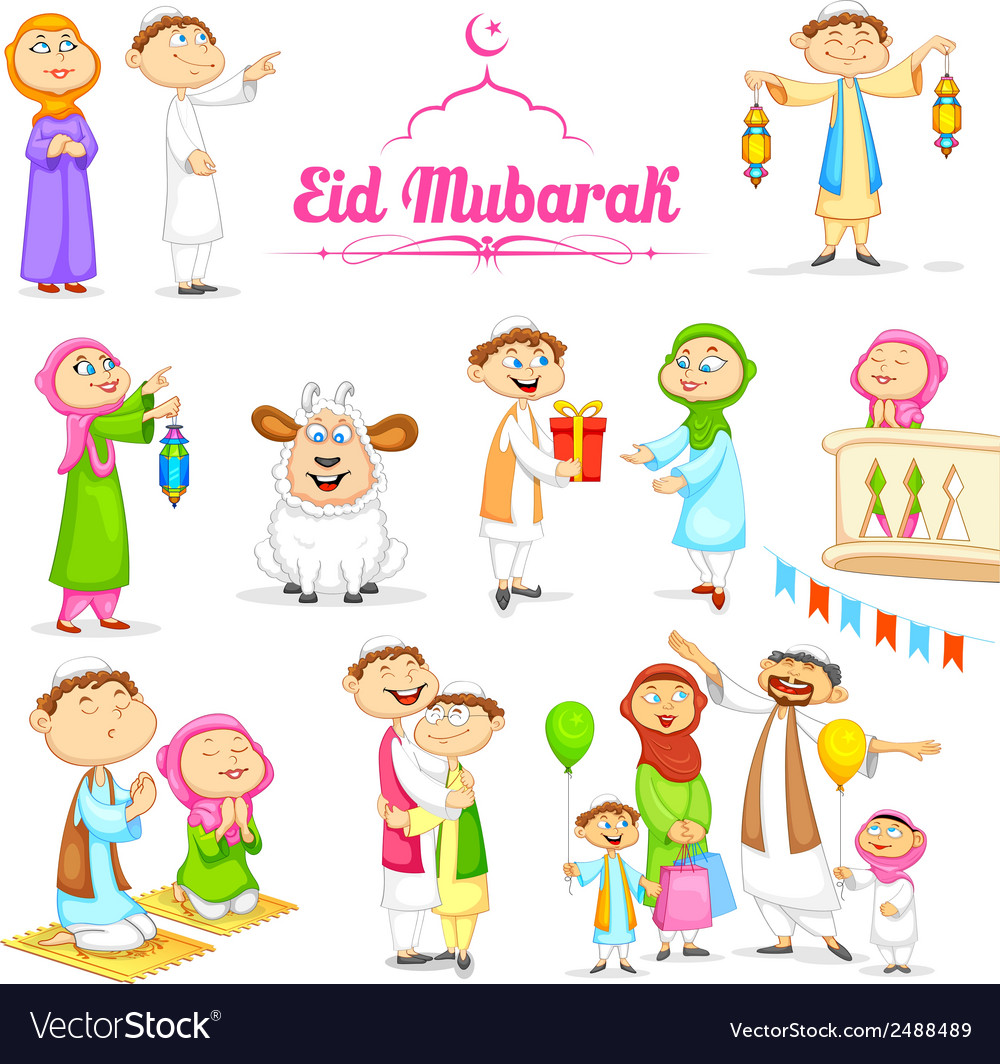 Muslim people celebrating eid vector | Price: 1 Credit (USD $1)