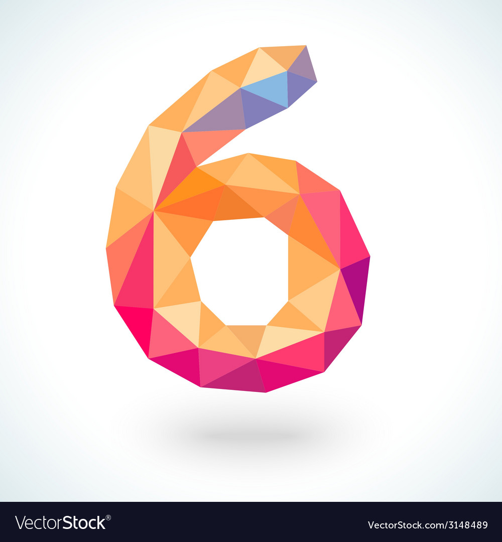 Number six in modern polygonal crystal style vector | Price: 1 Credit (USD $1)