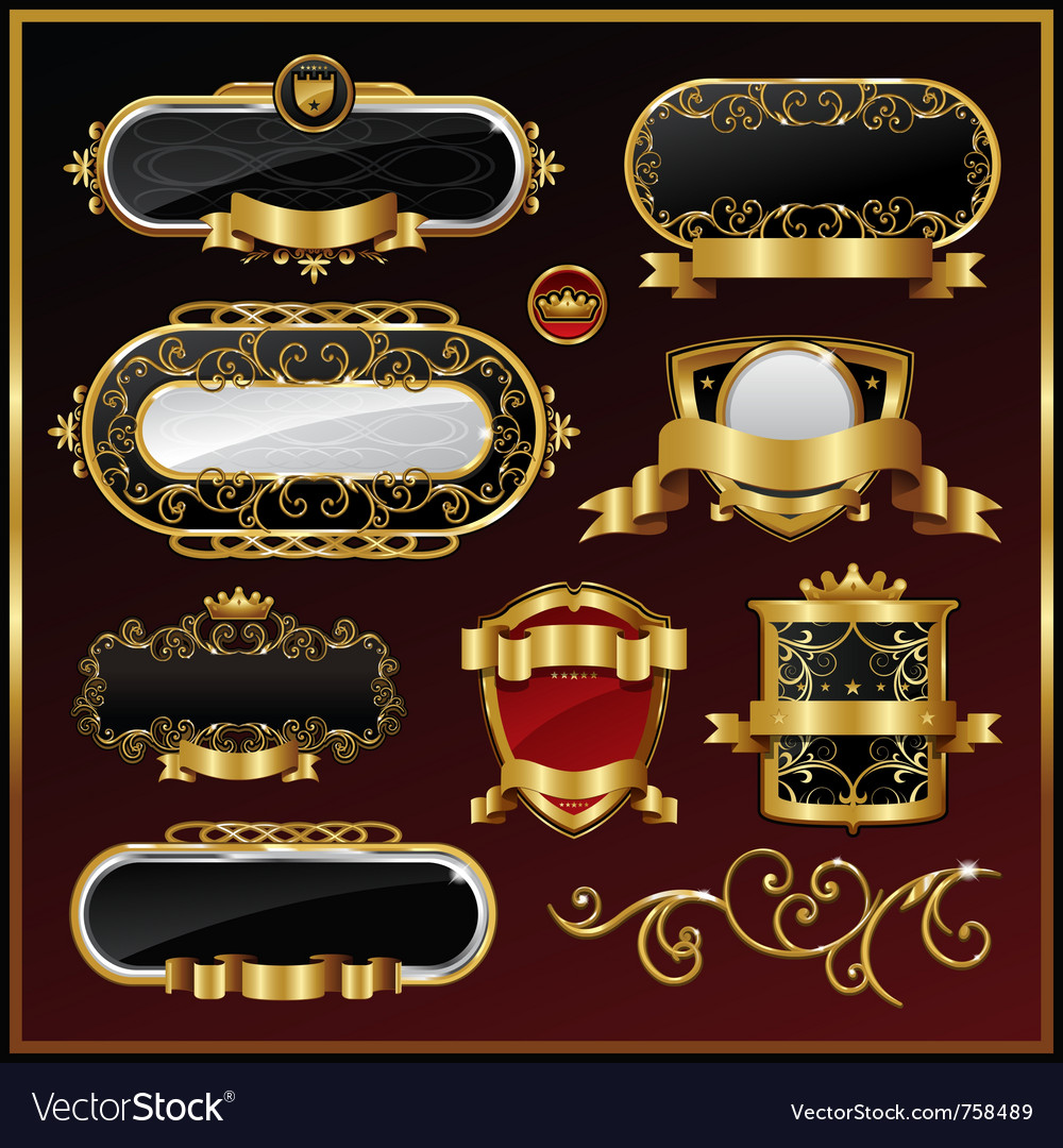 Vintage gold framed labels vector | Price: 3 Credit (USD $3)