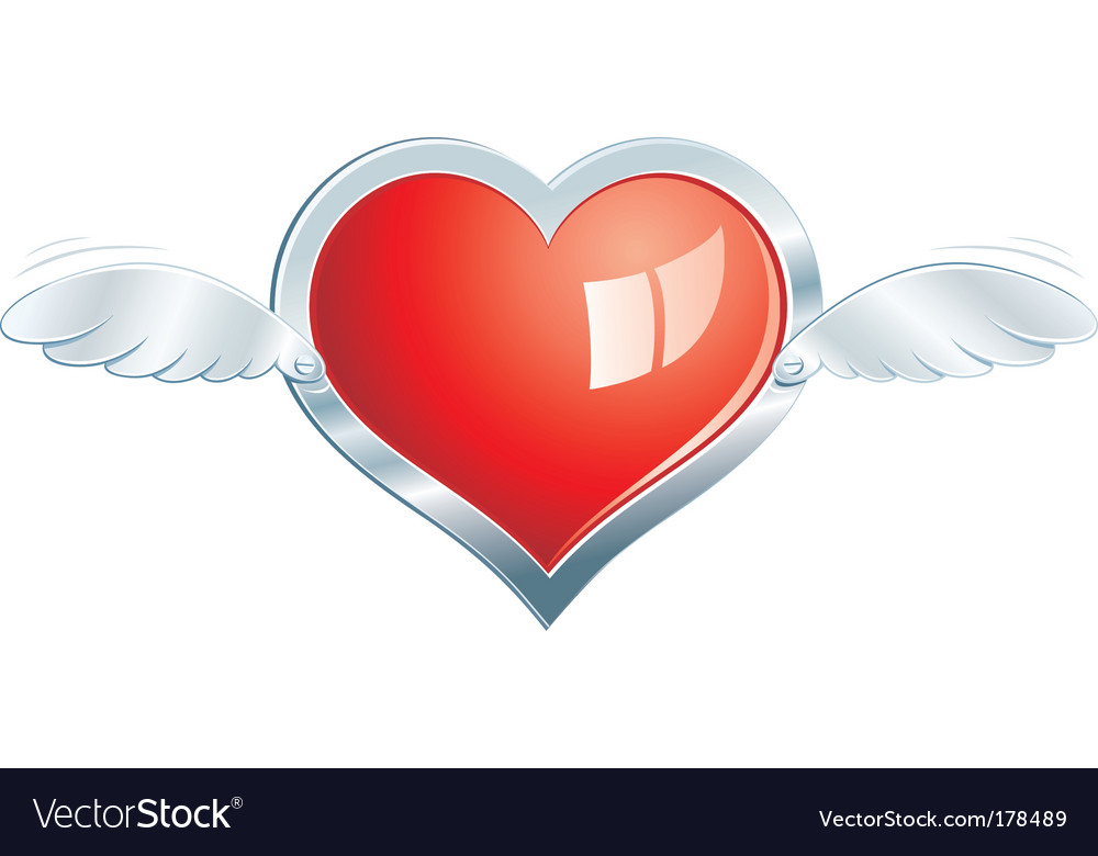 Winged steel heart vector | Price: 1 Credit (USD $1)