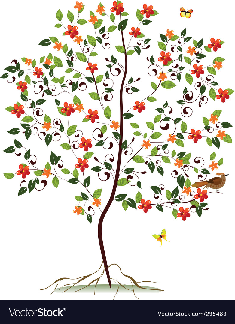 Young flowering tree vector | Price: 1 Credit (USD $1)