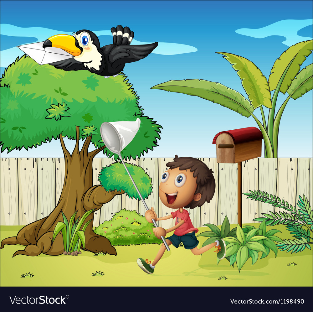 A boy catching the bird with an envelope vector | Price: 1 Credit (USD $1)