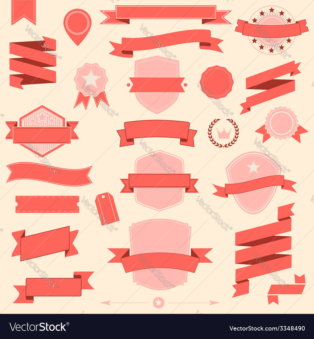 Big set retro design ribbons and badge vector | Price: 1 Credit (USD $1)