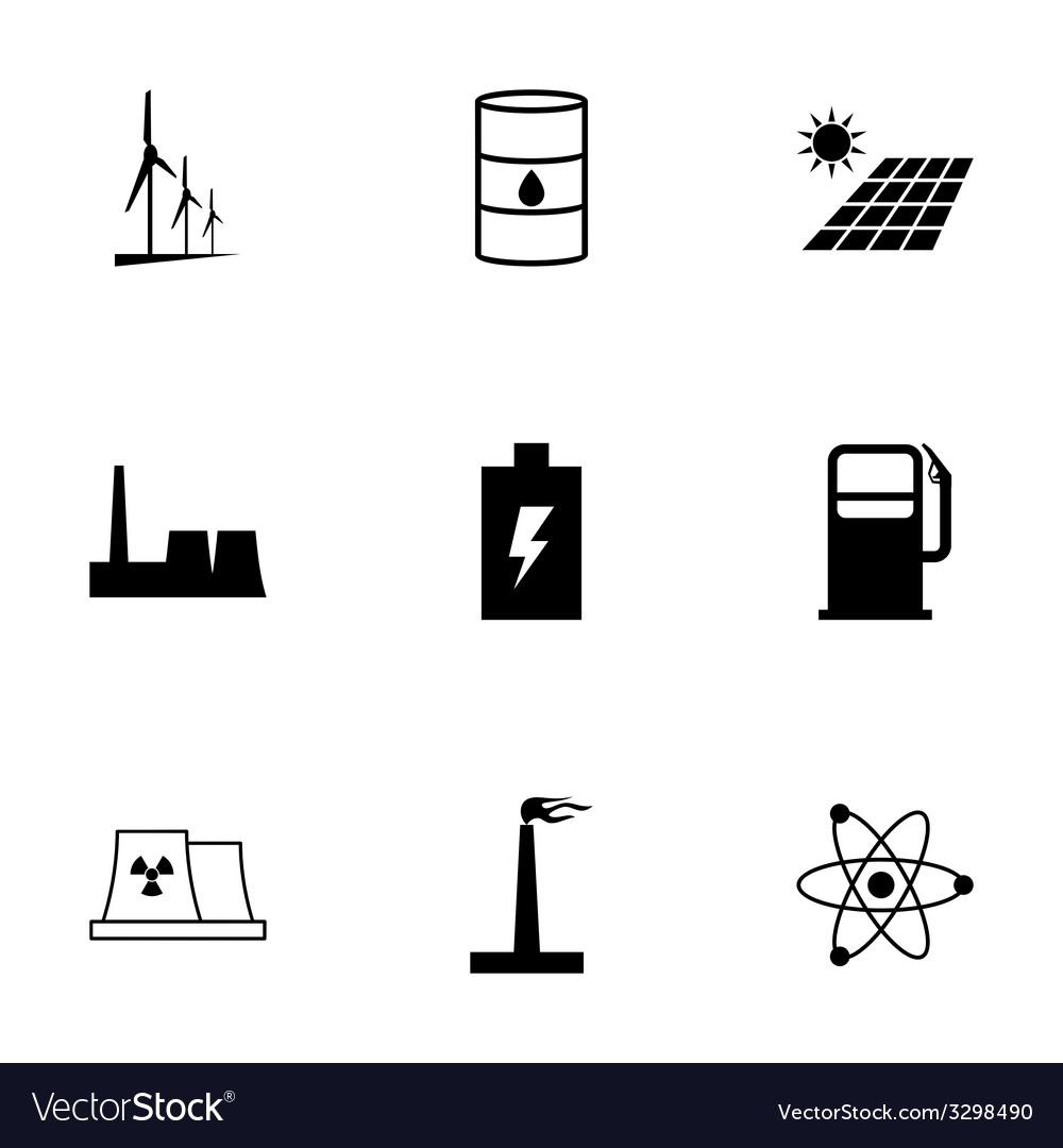Black energetics icons set vector | Price: 1 Credit (USD $1)