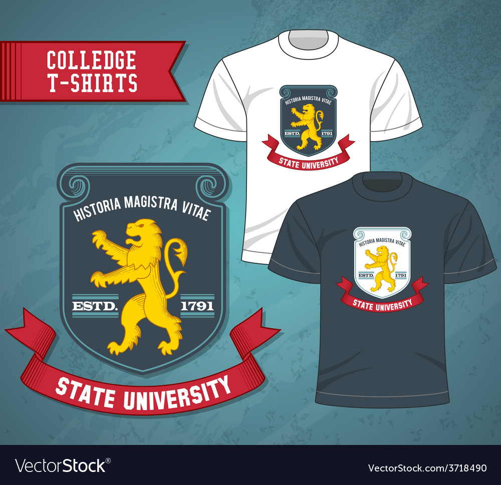 College labels t-shirts vector | Price: 1 Credit (USD $1)