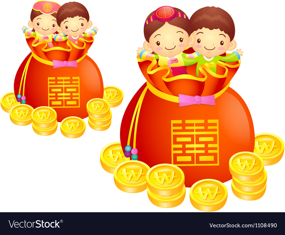 Dressed in the traditional costume of korea boys a vector | Price: 1 Credit (USD $1)