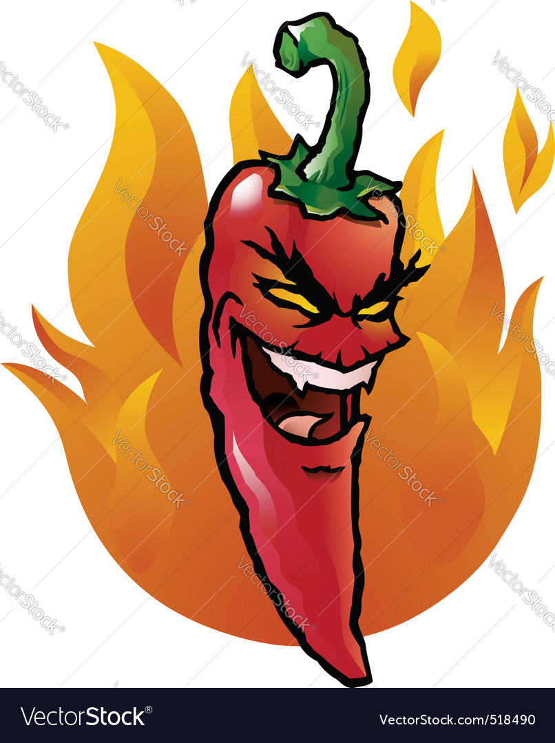 Evil red chili pepper vector | Price: 1 Credit (USD $1)