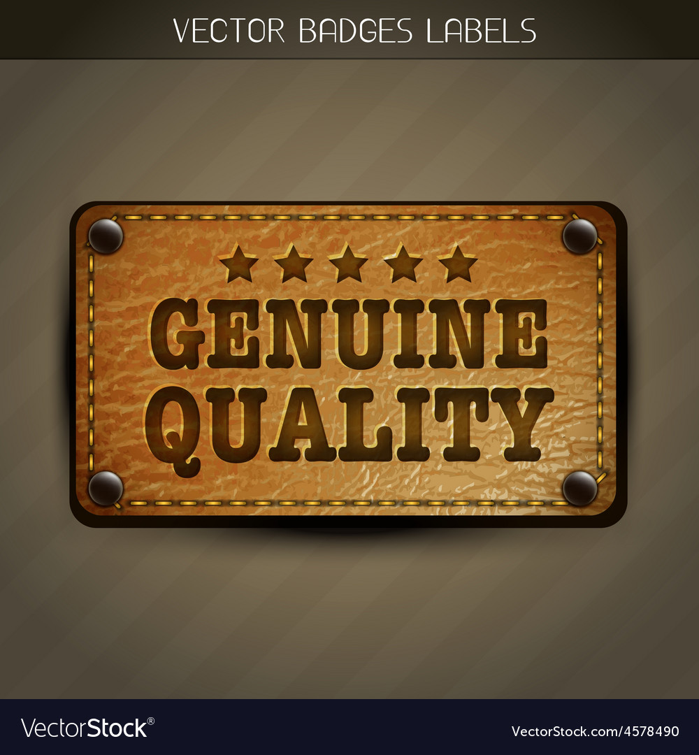 Genuine style leather label design vector | Price: 1 Credit (USD $1)