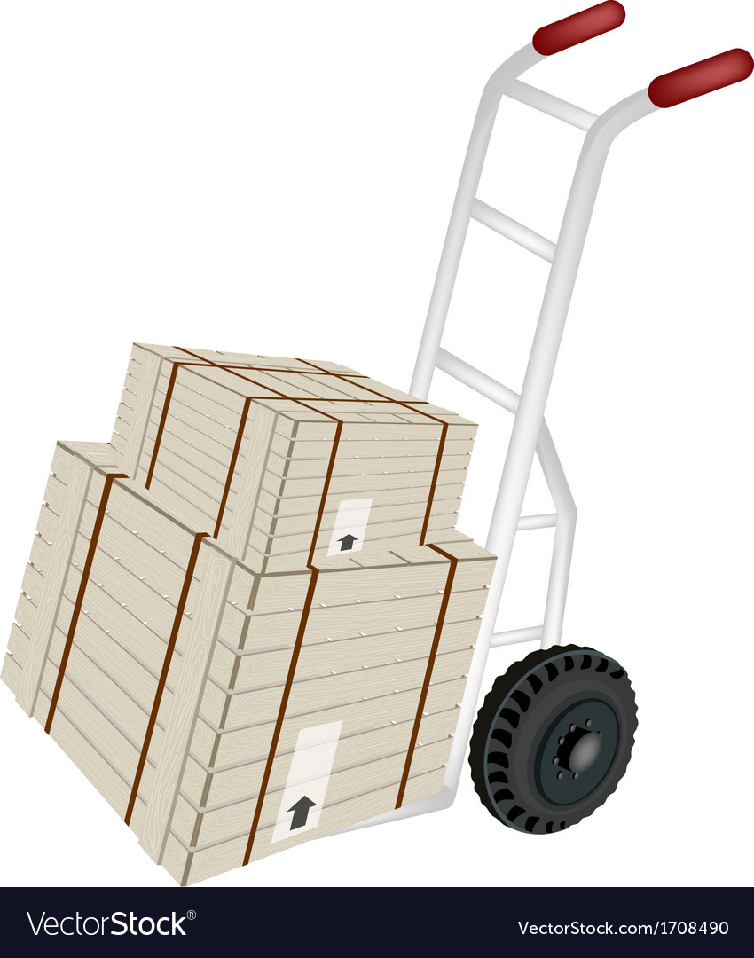 Hand truck loading shipping boxes vector | Price: 1 Credit (USD $1)