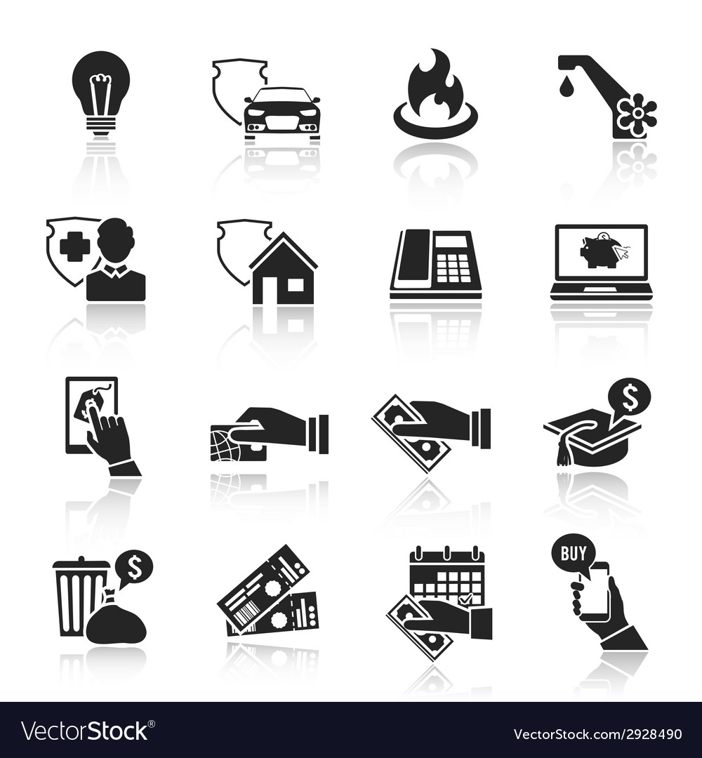 Pay bill icons black set vector | Price: 1 Credit (USD $1)