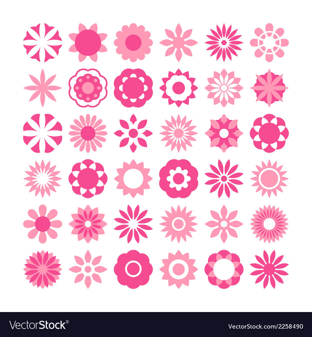 Set of flowers icons vector | Price: 1 Credit (USD $1)